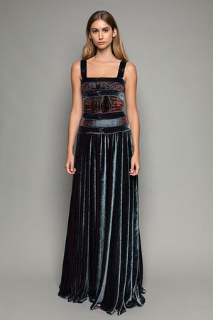 PENDA® • Luxury Designer Fashion  • Frida Kahlo velvet dress • Front