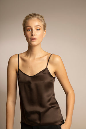 PENDA • Luxury Designer Fashion  • Sustainable  Silk Tencel Camisole Top • Front