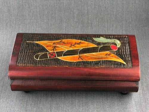 Wood Box 8.5x4.5x3 Lg Cigar Box