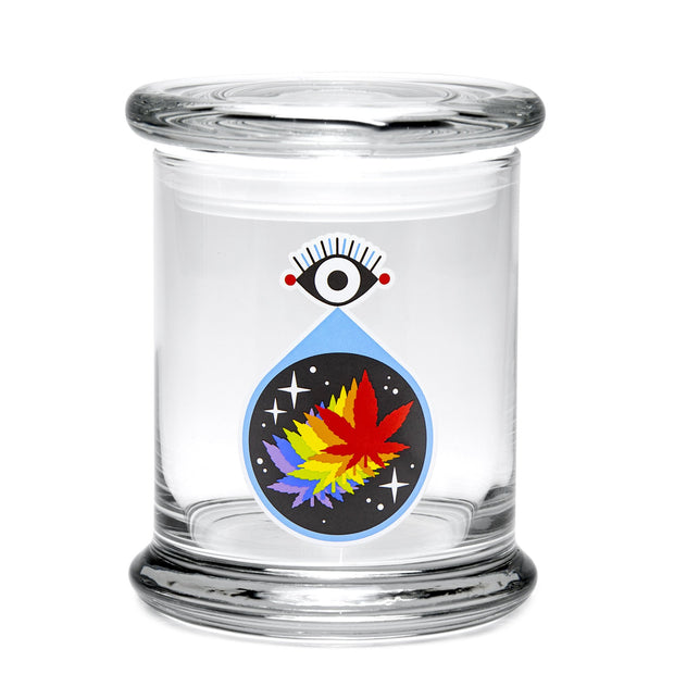 420 Science Large Clear Pop Top Jar - All-Seeing Leaf