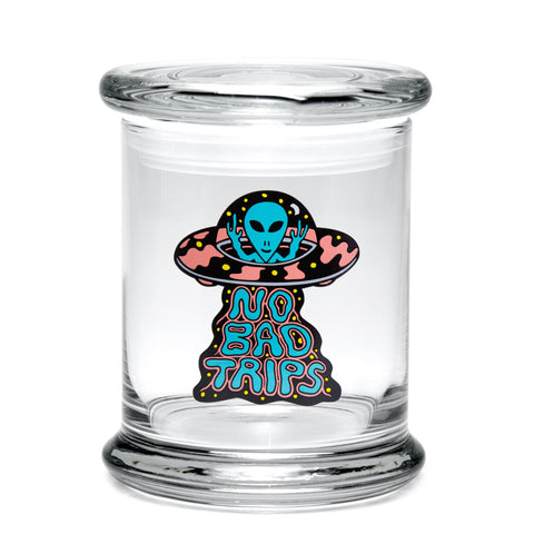 420 Science Large Clear Pop Top Jar - No Bad Trips