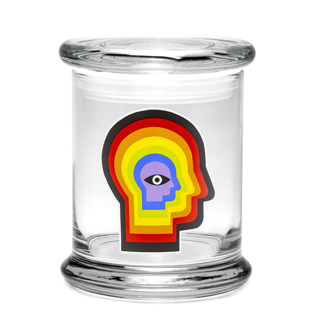 420 Science Large Clear Pop Top Jar - Rainbow Mind