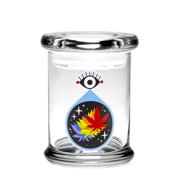 420 Science Medium Clear Pop Top Jar - All-Seeing Leaf
