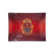 Hamsa Red Glass Rolling Tray