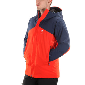 Mens ski jacket Haglofs Niva Insulated Jacket Tarn blue Habanero