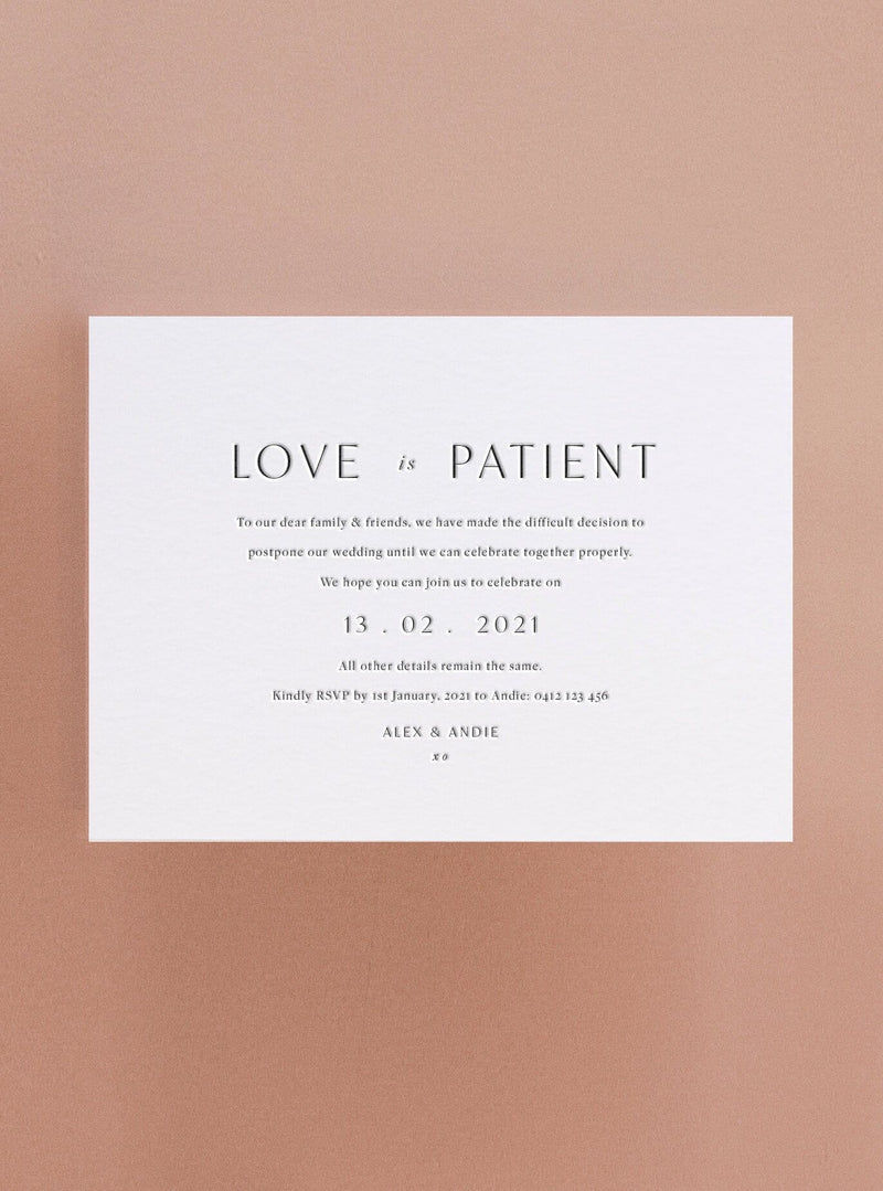 Love is Patient - Letterpress Change the Date Card