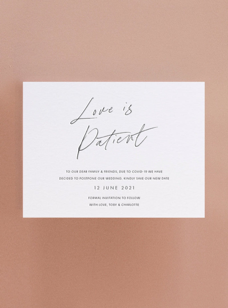 Love is Patient 2 - Letterpress Change the Date Card