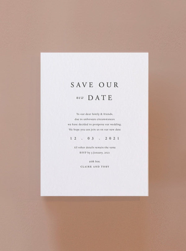 Save Our New Date - Letterpress Change the Date Card