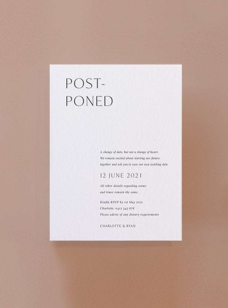 Postponed - Letterpress Change the Date Card