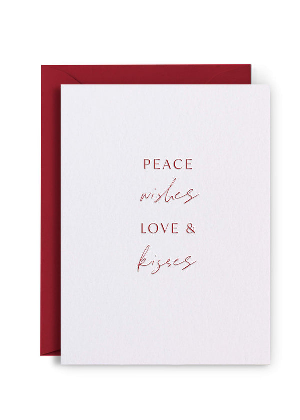 Peace Wishes Love Kisses - Letterpress Christmas Card