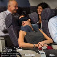 Sleepy Ride Memory Foam Airplane Neck Pillow Travel Kit Includes Neck Pillow, Plush Eye Mask, 2 Soft Ear Plugs