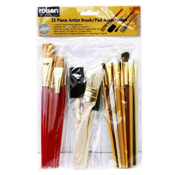25 Piece Artist Brushes Pad Set Arts Craft Paint Painting Brush Rolson 60965