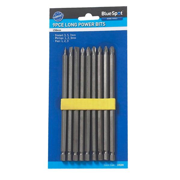 Extra Long Reach 9Pc Hex Pozi Phillips Slotted Screwdriver Bits Bluespot 14104