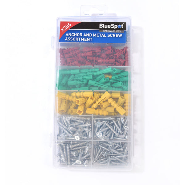 Assorted Wall Plugs Raw Rawl Plugs Screws. 285pc Raw Plugs Screws Bluespot 40542