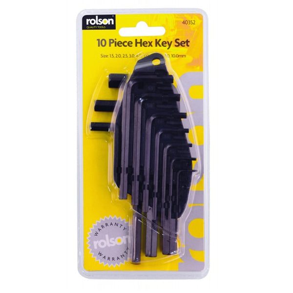 Hex Allen Key Set 10 Piece Metric Allan Alan Keys Rolson 40352