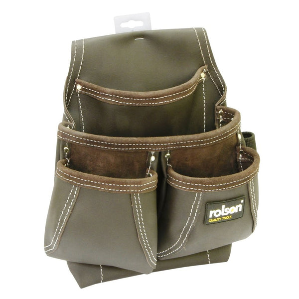 Framers Nail Tanned Tool Pouch Heavy Duty Leather 4 Pocket Pro Rolson 68871