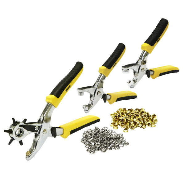 Leather Hole Punch & Grommet Tool Kit Eyelets Pliers Belt Shoe Rolson 20845