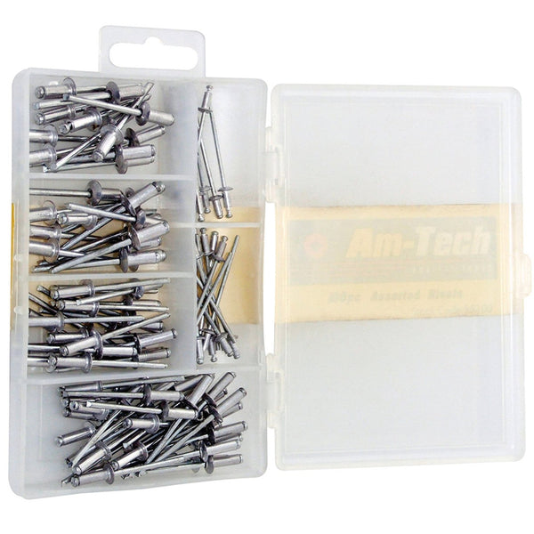 100pc Assorted Sized Rivets Hand Air Blind Blind Head Steel Shank Amtech S5100