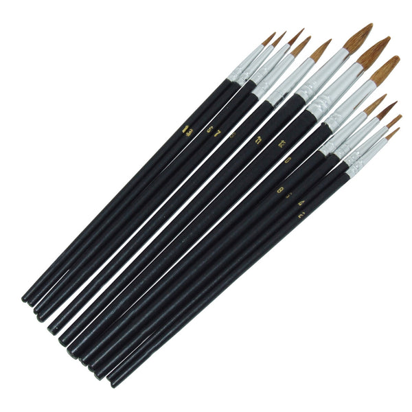 12 Piece Pointed Tip Artist Paint Brush Set Pro Quality Art Craft Amtech S4120