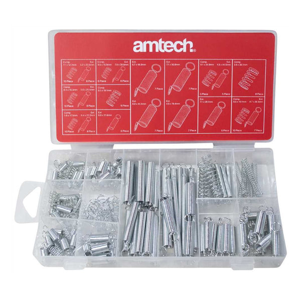 150Pc Tension Spring Set Assortment Kit Compression & Expansion Amtech S6210