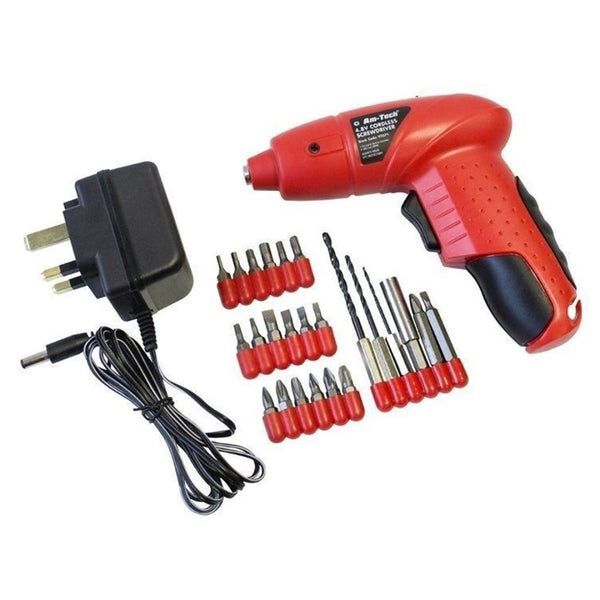4.8V Cordless Rechargeable Screwdriver + Accessories And Charger Amtech V2571