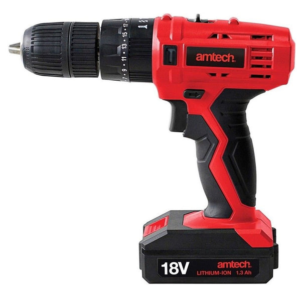 18V Cordless Combi Hammer Drill + Li-Ion Fast Charge + Case Amtech V6515