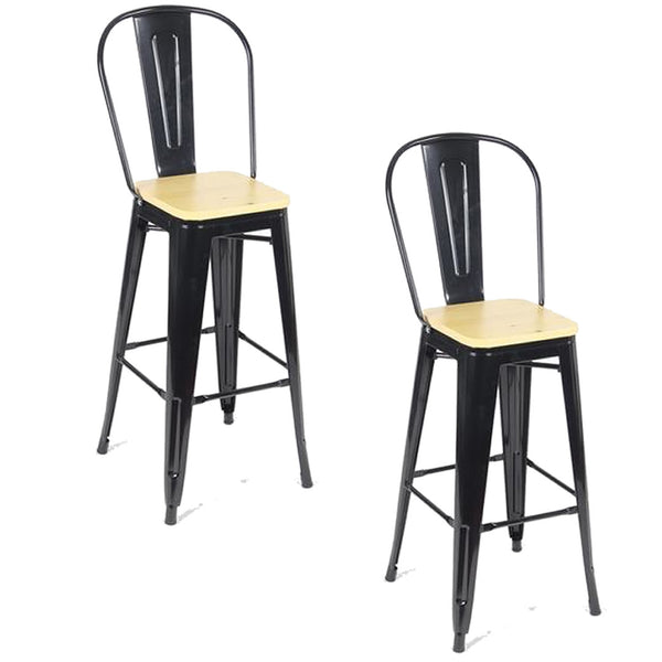 Tolix Metal Vintage Stool Kitchen Breakfast Bar Stools Sgabello Legna Black & Wood