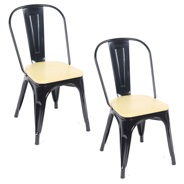 Tolix Metal Vintage Chairs Kitchen Breakfast Dining Chair Sedia Legna Blk & Wood
