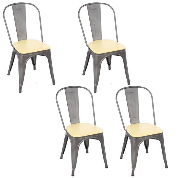 Tolix Metal Vintage Chairs Kitchen Breakfast Dining Chair Sedia Legna Gun Metal & Wood