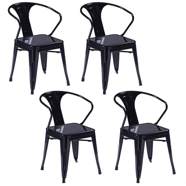 Tolix Metal Vintage Chairs Kitchen Breakfast Dining Chair Sedia Due Black