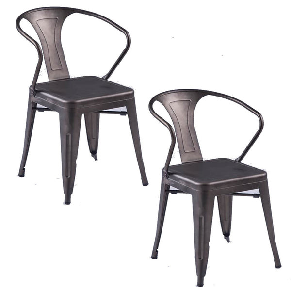Tolix Metal Vintage Chairs Kitchen Breakfast Dining Chair Sedia Due Gun Metal