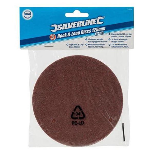 10pc Hook And Loop Sanding Discs 125mm 60-240 Grit Sand Paper Silverline