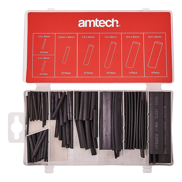 127pc Black Heat Shrink Tube Assortment Wire Electrical Insulation Amtech S6205