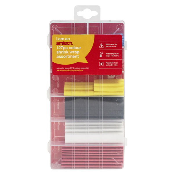 127pc Colour Heat Shrink Tube Assortment Wire Electrical Insulation Amtech S6203