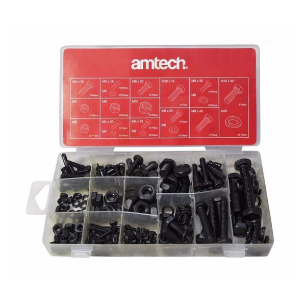 240 pc Nut & Bolt Washer Lock Set M4 M5 M6 M8 M10 in Storage Case Amtech S6230