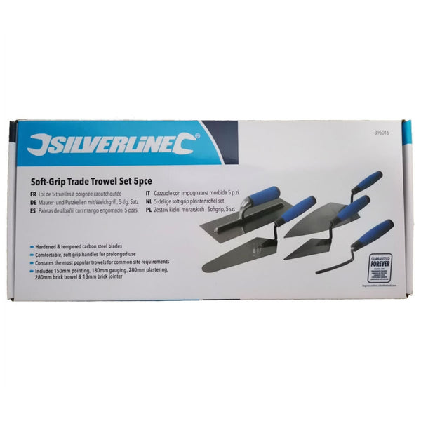 Trowel Set 5 Pcs Tradesman Brick Plastering Builder Pointing Laying Silverline 395016