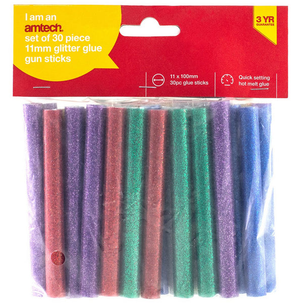 Hot Glitter Glue Gun Sticks Melt Cartridges Art 30 Pieces 11mm Adhesive Amtech S1878