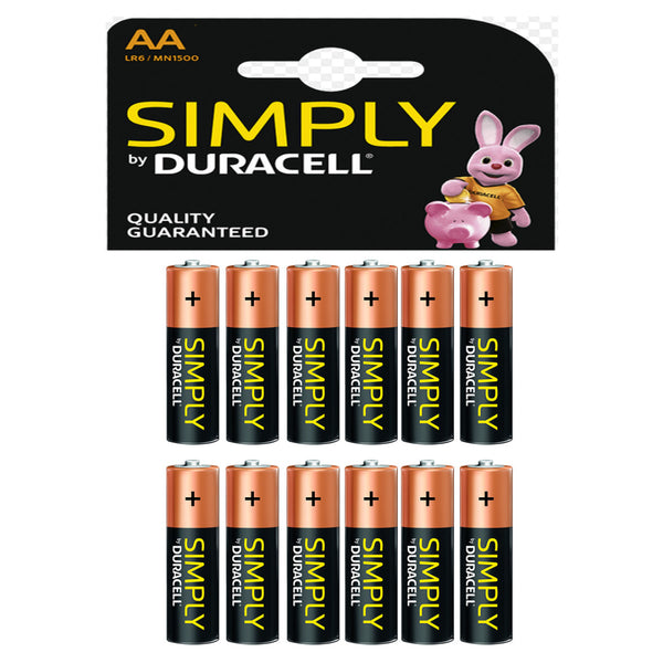 Duracell Simply AA Alkaline Batteries LR6 MN1500 1.5V Battery 12 Pack