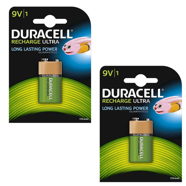 Duracell Rechargeable Ultra 9V Batteries NiMH 170mAh HR22 Duralock 2 Pack