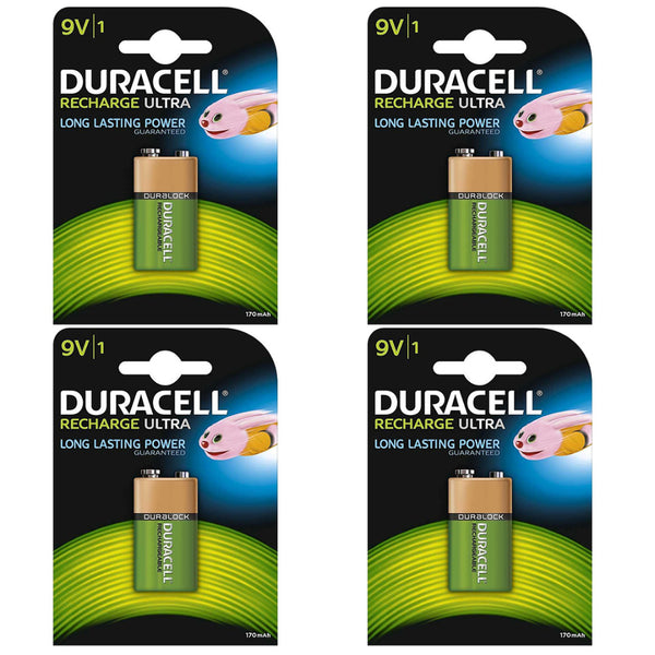 Duracell Rechargeable Ultra 9V Batteries NiMH 170mAh HR22 Duralock 4 Pack