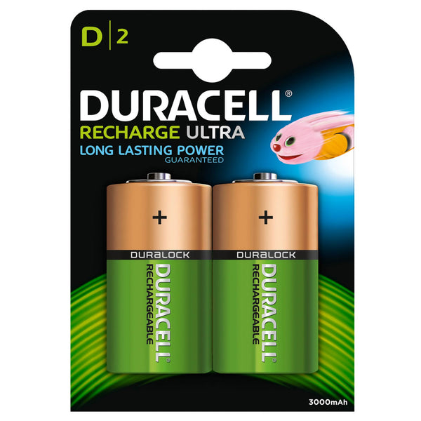 Duracell Rechargeable Ultra D Batteries NiMH 3000mAh HR20 Duralock 2 Pack
