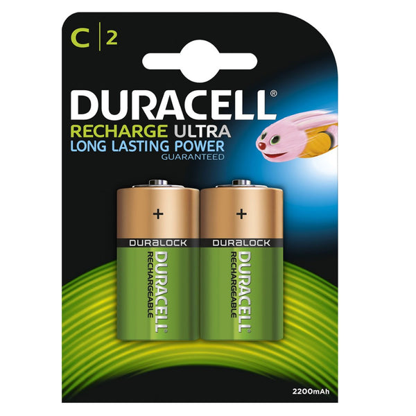 Duracell Rechargeable Ultra C Batteries NiMH 3000mAh HR14 Duralock 2 Pack
