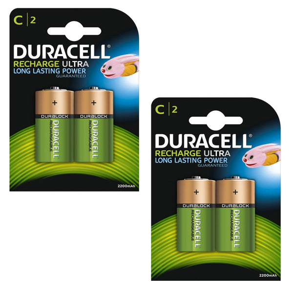 Duracell Rechargeable Ultra C Batteries NiMH 3000mAh HR14 Duralock 4 Pack