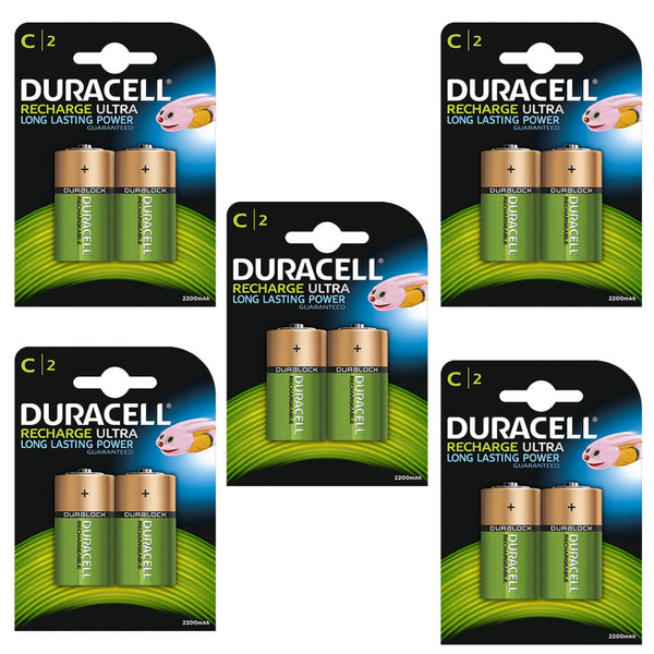 Duracell Rechargeable Ultra C Batteries NiMH 3000mAh HR14 Duralock 10 Pack