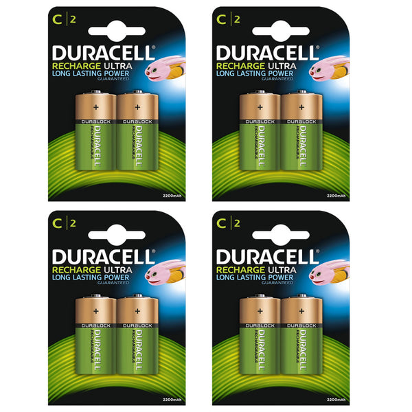 Duracell Rechargeable Ultra C Batteries NiMH 3000mAh HR14 Duralock 8 Pack