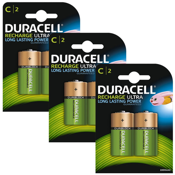 Duracell Rechargeable Ultra C Batteries NiMH 3000mAh HR14 Duralock 6 Pack