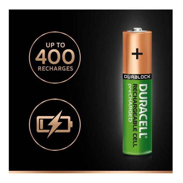 Duracell Rechargeable Ultra AAA Batteries NiMH 850mAh HR03 Duralock 4 Pack