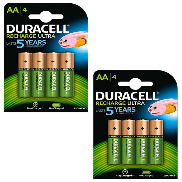 Duracell Rechargeable Ultra AA Batteries NiMH 2500mAh HR6 Duralock 8 Pack