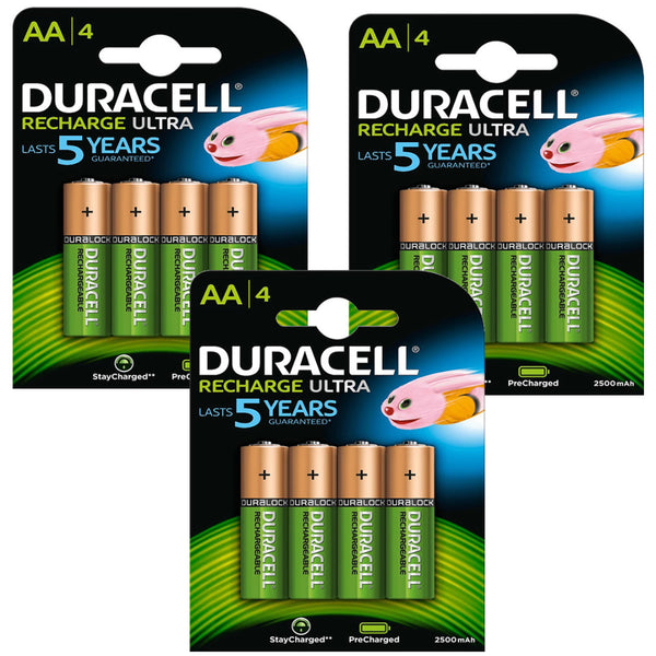 Duracell Rechargeable Ultra AA Batteries NiMH 2500mAh HR6 Duralock 12 Pack