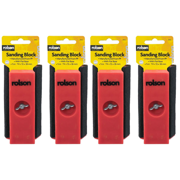 4 Pack Mini Sanding Block Wood Work Equipment Sandpaper Sander Carpenter Rolson 24435